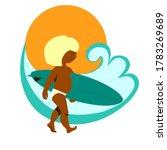 child surfer tanned blond goes... | Shutterstock .eps vector #1783269689