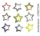 vector set of grunge star brush ... | Shutterstock .eps vector #178327244