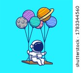 cute astronaut swinging with... | Shutterstock .eps vector #1783344560