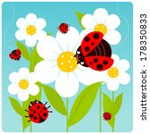 Ladybugs And Flowers. Vector...