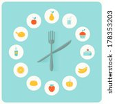 food icons infographic clock.... | Shutterstock .eps vector #178353203
