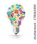 creative light bulb with cloud... | Shutterstock . vector #178363304