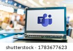 Small photo of POZNAN, POL - APR 28, 2020: Laptop computer displaying logo of Microsoft Teams, a unified communication and collaboration platform
