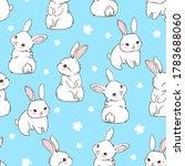 seamless pattern rabbit.... | Shutterstock .eps vector #1783688060
