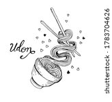 udon lettering. flying noodles. ... | Shutterstock .eps vector #1783704626