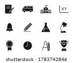 school silhouette vector icons...