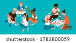 young multiethnic people having ... | Shutterstock .eps vector #1783800059