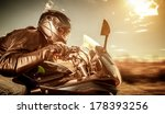 biker in helmet and leather... | Shutterstock . vector #178393256