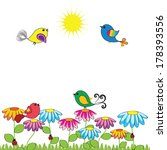 colorful and cute birds on the... | Shutterstock . vector #178393556
