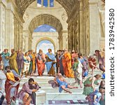 Small photo of Vatican - Sept. 22, 2014: School of Athens famous frescoes by Italian Renaissance artist Raphael. It was painted 1509 and 1511 to decorate with frescoes the rooms in the Apostolic Palace.