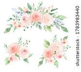 set watercolor flowers hand... | Shutterstock . vector #1783983440