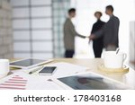 close up of business items with ... | Shutterstock . vector #178403168