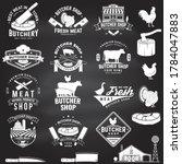 set of butcher shop badge or...   Shutterstock .eps vector #1784047883