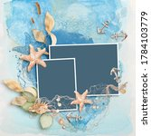 Marine Scrapbook Frame On Blue...