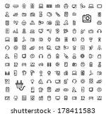 vector black video and audio... | Shutterstock .eps vector #178411583