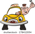 taxi driver   road rage | Shutterstock .eps vector #178412054