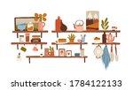 cooking utensils on shelves in...   Shutterstock .eps vector #1784122133