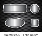 metallic buttons on textured... | Shutterstock .eps vector #178413809