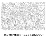 trick or treat coloring page.... | Shutterstock .eps vector #1784182070