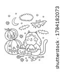 trick or treat coloring page.... | Shutterstock .eps vector #1784182073
