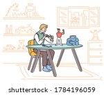 a man is repairing a figure as...   Shutterstock .eps vector #1784196059