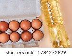 8 Eggs In A Cardboard Egg Box...