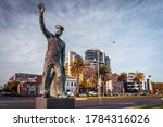 Small photo of Melbourne, Australia - Jul 24, 2020: Statue in Port Melbourne with face mask on put on by pranksters