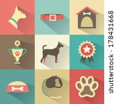 Stock vector retro dog icons set vector illustration for web mobile application design pet animal silhouette 178431668