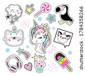 fashion patch badges with... | Shutterstock .eps vector #1784358266