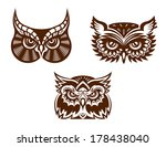 brown and white wise old owl... | Shutterstock .eps vector #178438040