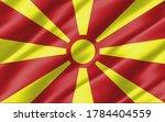 silk wavy flag of macedonia...   Shutterstock . vector #1784404559