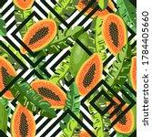 papaya fruit tropical seamless... | Shutterstock .eps vector #1784405660