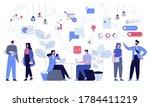 people in open space coworking... | Shutterstock .eps vector #1784411219