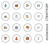 Thanksgiving icons colored line set with turkey, dove, cooked turkey and other paper elements. Isolated illustration thanksgiving icons.