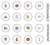 Festival icons colored line set with turkey, dove, cooked turkey and other paper elements. Isolated vector illustration festival icons.