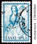 Small photo of GREECE - CIRCA 1956: a stamp printed in the Greece shows Queen Amalia, Queen of Greece, circa 1956