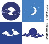 moon vector. set of icons | Shutterstock .eps vector #178450619