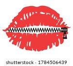 no talking zipper lips. vector...   Shutterstock .eps vector #1784506439