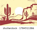 American Desert With Cactuses...