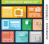 technology media set graphics...