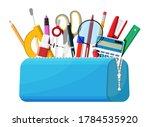 open pencil case with zipper... | Shutterstock .eps vector #1784535920