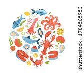 seafood icons set in round ... | Shutterstock .eps vector #1784565953