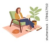 girl with notebook in a chair.  ... | Shutterstock .eps vector #1784617910