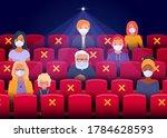 social distancing in the cinema ...   Shutterstock .eps vector #1784628593