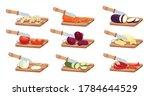 sliced vegetables and knife set ... | Shutterstock .eps vector #1784644529