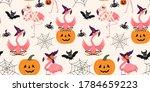 halloween pattern with flamingo ... | Shutterstock .eps vector #1784659223