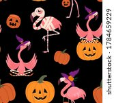 halloween pattern with flamingo ...   Shutterstock .eps vector #1784659229