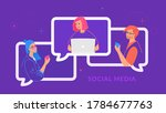young three teenagers chatting... | Shutterstock .eps vector #1784677763