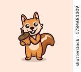 Cute Happy Squirrel Mascot...