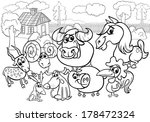 black and white cartoon... | Shutterstock . vector #178472324